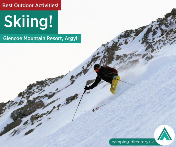 Outdoor Activity: Glencoe Mountain Resort, Argyll, Scotland. Ski across 20 runs and 8 lifts - catering for skiers of all levels. Complete beginners can enjoy the gentle plateau runs while experts can experience the incredible variety of terrain (which includes the longest and steepest runs in Scotland). Outdoors. Camping. Campsite. Holiday. UK. Travel. Adventure.