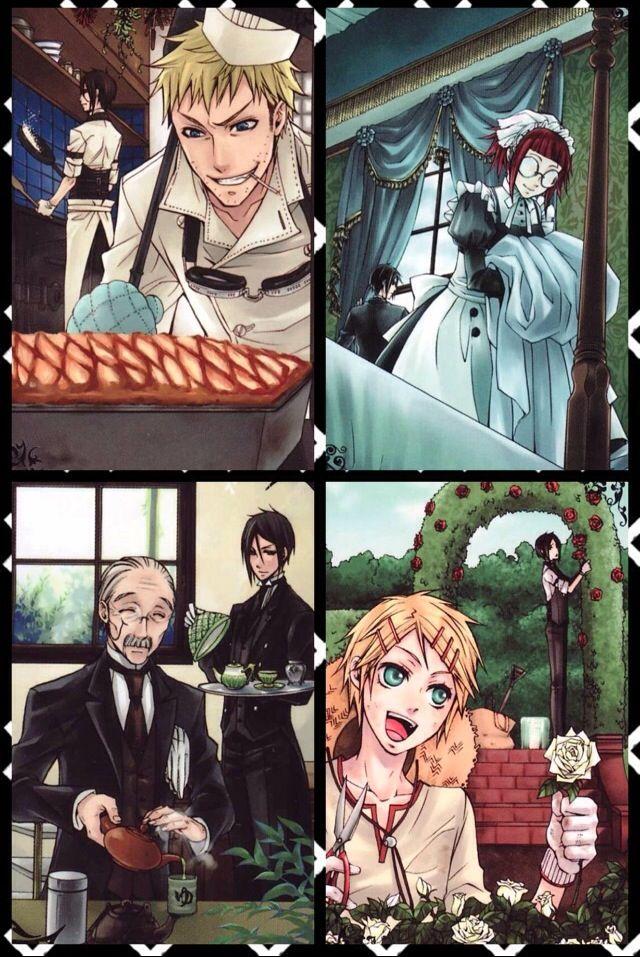 Black Butler ~~ The Phantomhive Staff are Simply WONDERFUL! :: Chef Baldroy, Maid Mey-Rin, Head Butler Tanaka, and Gardener Finny