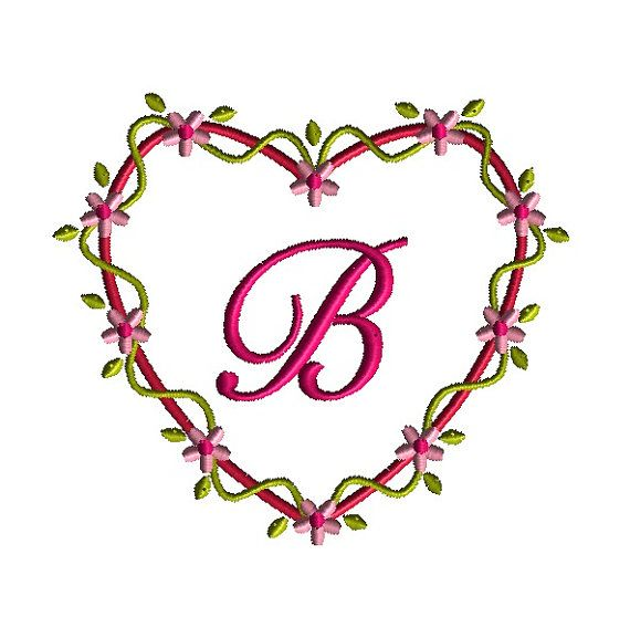 Heart flower frame machine embroidery design instant