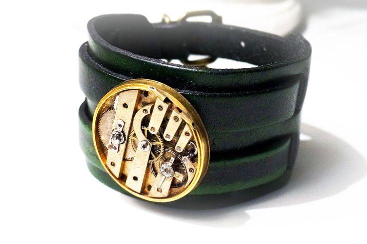 Стимпанк БДСМ мужской браслет из натуральной кожи Burning man старинные часы подарок на день рождения мужчине мужу гранж индастриал урбан
