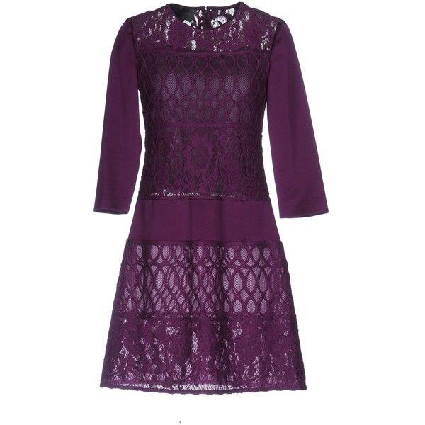 Alberta Ferretti Short Dress ($890) ❤ liked on Polyvore featuring dresses, purple, purple mini dress, lace dress, swing dress, long sleeve short dress and purple dresses