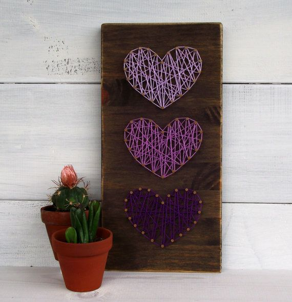 Mini Purple Hearts String Art Sign by LoveArtSoul11 on Etsy