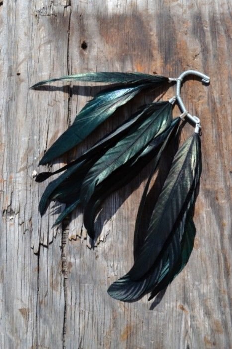 Raven Black Crow Feather Ear Cuff by francisfrank on Etsy, $23.00  Love this idea!!