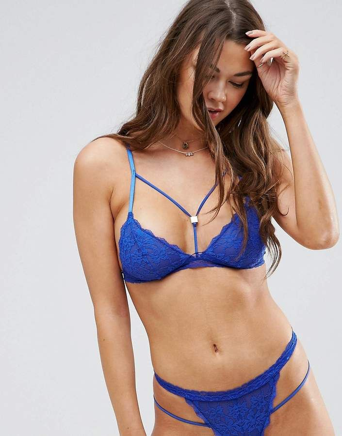 6f311019b83 ASOS Roxy Strappy Lace Triangle Bra with Hardware Detailing - Electric Blue