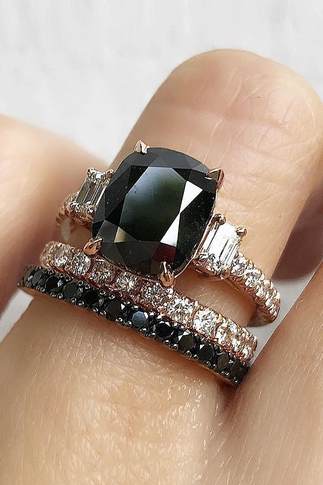 33 Unique Black Diamond Engagement Rings ❤ black diamond engagement rings oval cut solitaire wedding set ❤ More on the blog: https://ohsoperfectproposal.com/black-diamond-engagement-rings/ #UniqueEngagementRings #solitaireengagementring