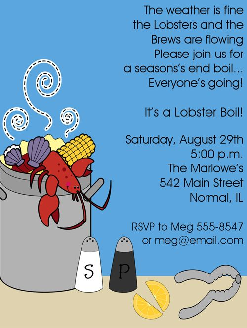 seafood boil invite | Shop our Store > Seafood Boil Invitation