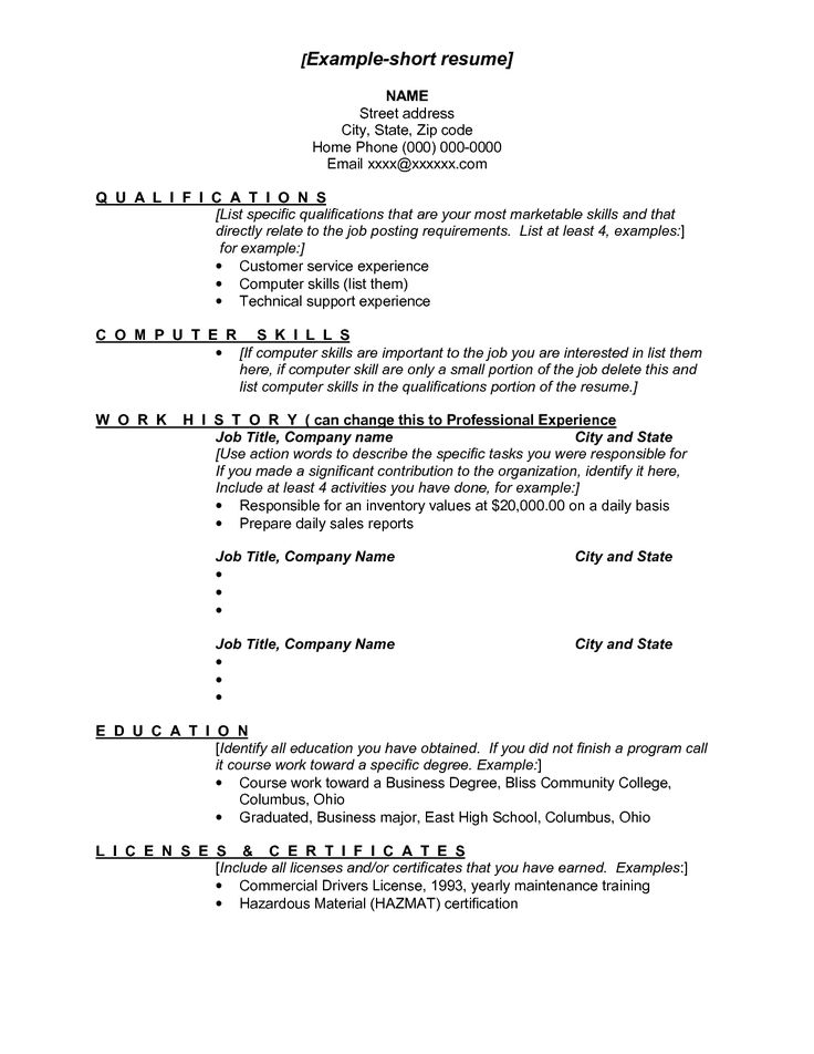 examples of a short resumes example short resume short resume pinterest resume examples resume and shorts