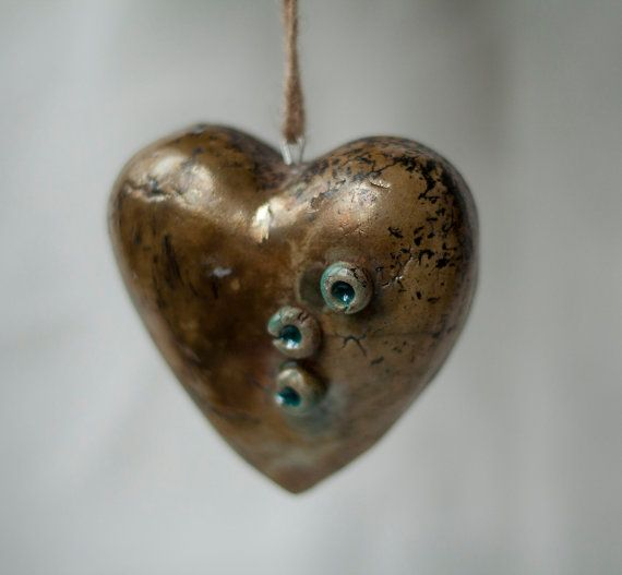 Ceramic heart  raku gold blue yellow handmade OOAK by ClayLadyArt