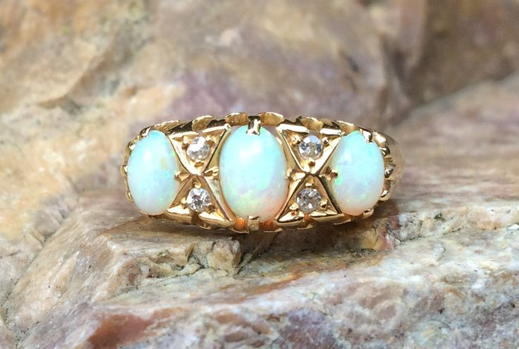 Antique 18 Kt gold ring with opals and old cut diamonds. by ArtJewelsStore on Etsy