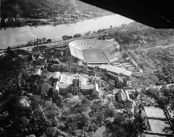 "midsouthmemories: ""Aerial view of the University of Tennessee and Neyland Stadium at Knoxville. Knox County. January 9, 1949 (Photograph courtesy T.S.L.A.) """