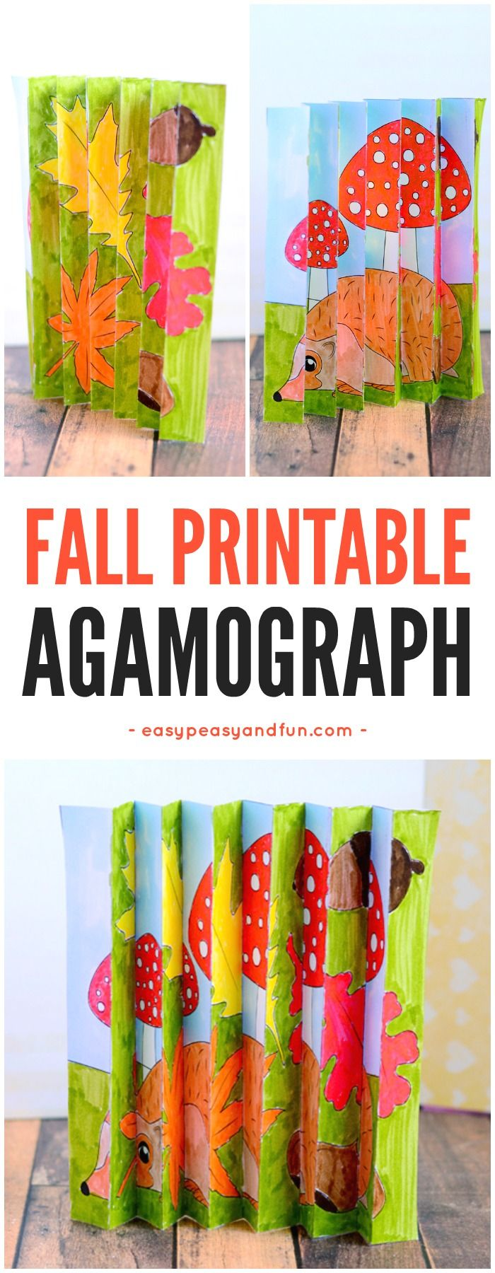 Printable Fall Agamograph Template Paper Craft for Kids