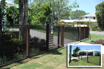 aluminium fence with timber posts - Google Search