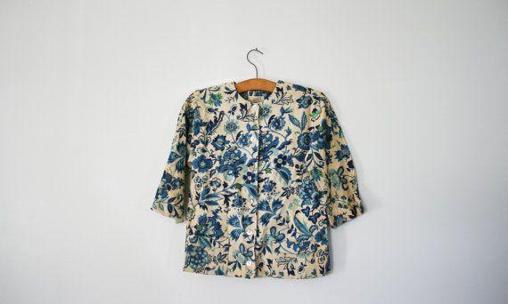 vintage 60s Folk Flowers Shades of Blue Green Ladies Linen Jacket John of California