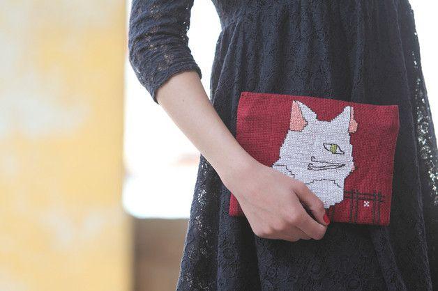 Purses – Damascus Cat Etamin Pouch – a unique product by Sama_Handmade on DaWanda