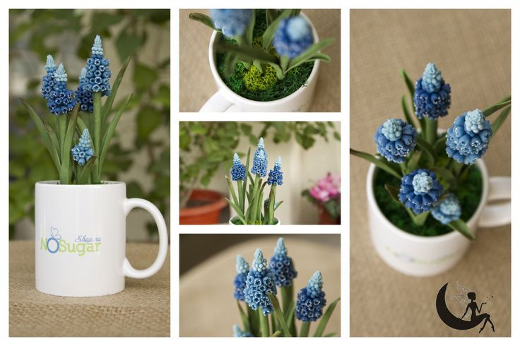 Cold porcelain muscari arrangement in a cup. NoSugarShop.ro loved it :)