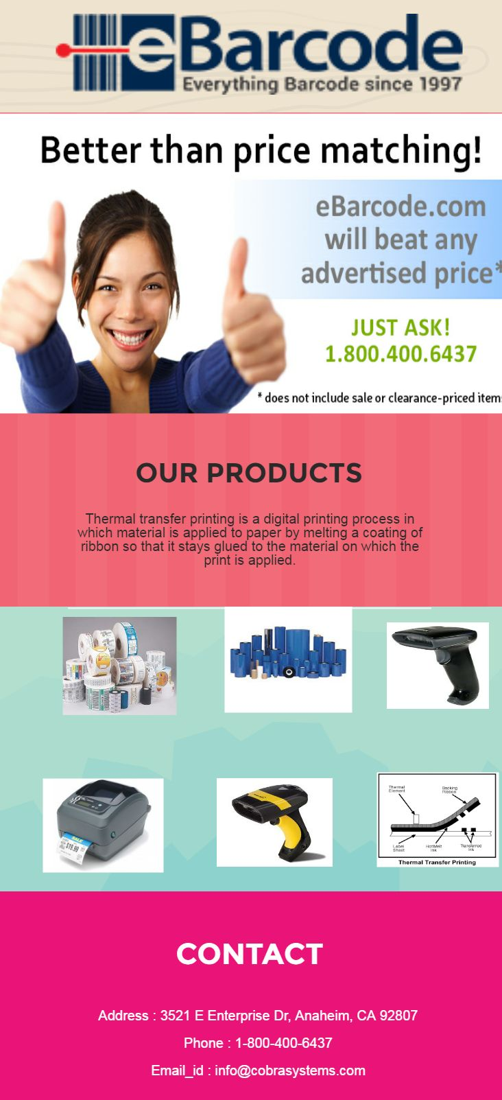 At Ebarcode we have large number selection on printers with high quality and durability. You require recognizing standardized labels on packaging, if you are amassing things and Barcode supplies for retail bargain. We are offering the so many barcode supplies at exclusive discounts. Contact for any query https://www.ebarcode.com/.