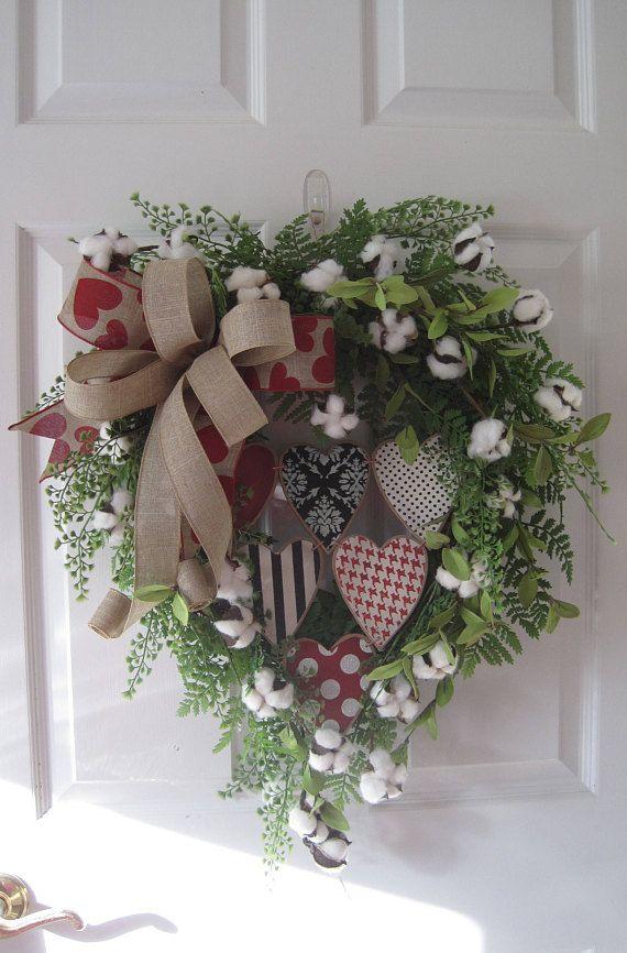 Valentine Wreath Hearts Burlap Ribbon Cotton Ball Wreath With Images Valentine Wreath Valentine Day Wreaths