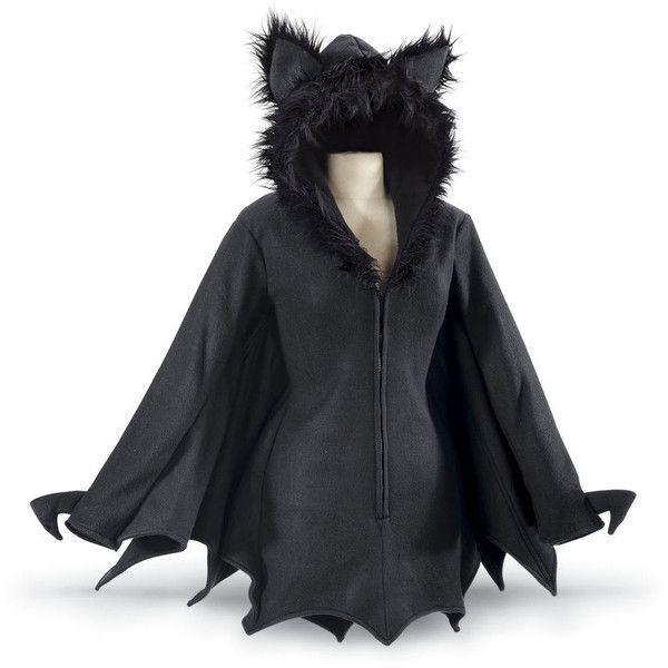 Bat Jacket ($70) ❤ liked on Polyvore featuring outerwear, jackets, black, batting jackets, long jacket, 3/4 sleeve jacket, long hooded jacket and hooded jacket