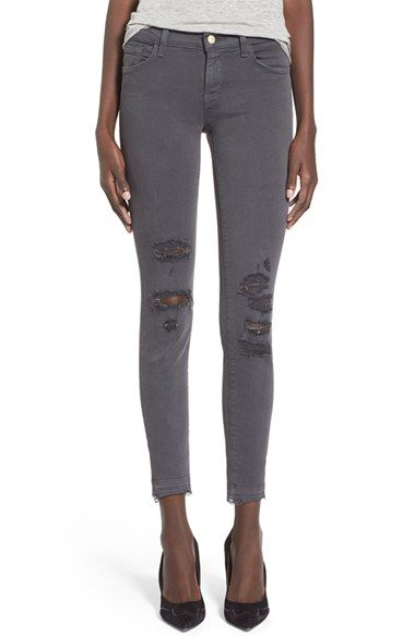 Free shipping and returns on J Brand Destroyed Crop Skinny Jeans (Demented Grey) at Nordstrom.com. Shredded knees lend distressed vibes to figure-hugging skinny jeans cast in a versatile medium-grey wash. This ankle-grazing style features frayed released hems that are perfect for drawing attention to your favorite footwear.