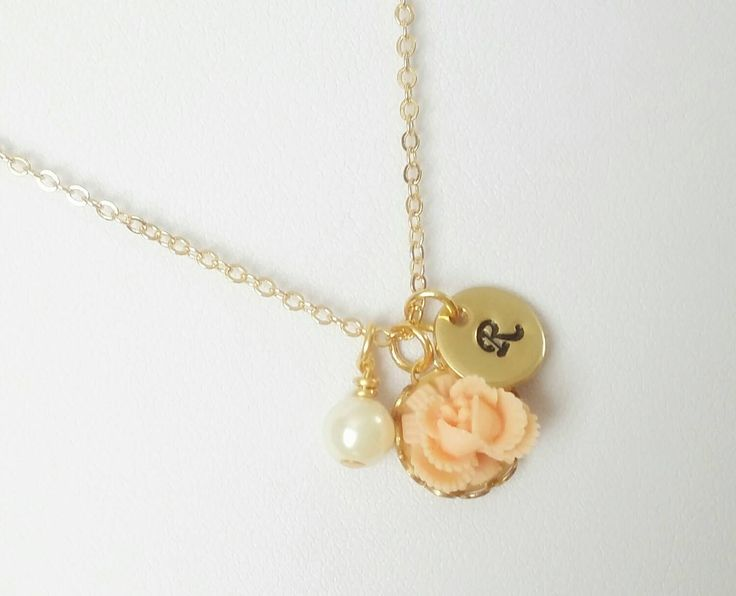 Peach necklace, girls flower necklace, peach flower necklace, peach rose necklace, resin flower necklace, flower girl gift by MidSummerBlooms on Etsy https://www.etsy.com/listing/197456113/peach-necklace-girls-flower-necklace