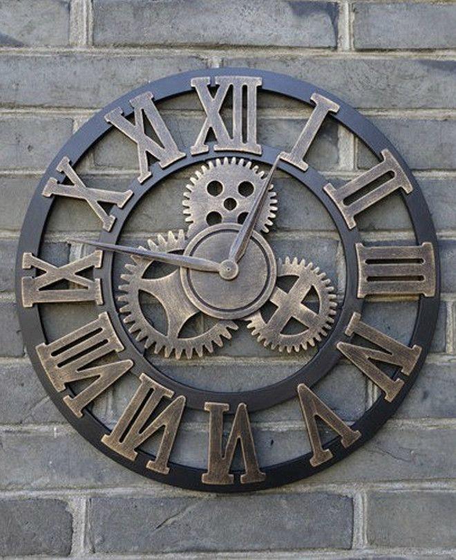 Vintage Wall Clock Rustic Industrial 3d Gear Tonersva Rustic