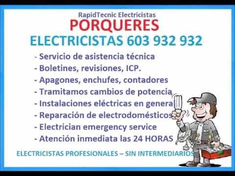 Electricistas PORQUERES 603 932 932 Baratos