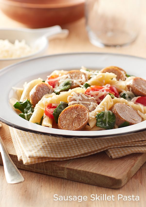 All in one, and one for all. This easy skillet dish combines pre-cooked Gold'n Plump Smoked Hickory Flavor Sliced Sausages, spinach, tomatoes and parmesan cheese. Super simple, super delish.