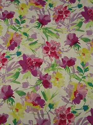 Magenta/White/Multi Watercolor Floral Print Cotton Floral Jacquard - Maggy London - 48W