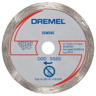 Disco de Corte Para Azuleijo DSM540 - Dremel Disco Diamantado para Azulejos Dremel SM540 (DSM540-RW) - para uso exclusivo na Dremel Saw-Max Disco abrasivo de diamante para cortes retos precisos em azulejos de parede, porcelana, cerâmica, ardósia, pedra e placas de cimento. Profundidade de corte: até 21,5mm Velocidade máxima: 20.000/min Uso apenas com a Ferramenta Dremel Saw-Max www.colar.com