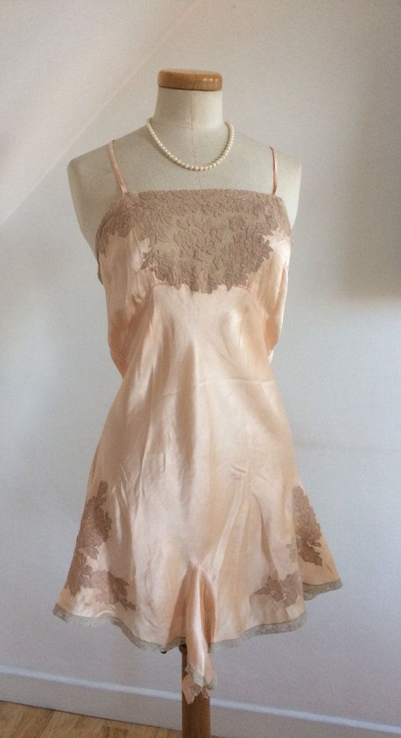 Vintage 30s Silk Cami Knickers Peach Play Suit Step In Duchess Lace Delicious Pure French 1930s uk12