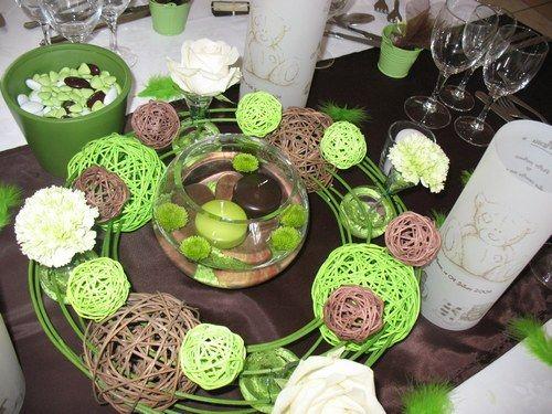 Décoration de bapteme :theme Nounours (couleurs vert,chocolat et blanc)…