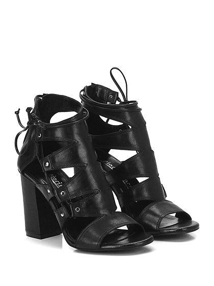 Fiori Francesi - Sandalo alto - Donna - Sandalo alto in pelle con zip su reto e allacciatura laterale alla caviglia. Suola in cuoio, tacco 95. - NERO