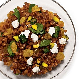 Whole-grain wheat berries are chewy, mild, and packed with healthy fiber. Dressing the hot wheat berries in a homemade spicy-sweet vinaigrette and letting stand for 20 minutes infuses them with intense flavor.View Recipe: Wheat Berry Salad with Raisins and Pistachios