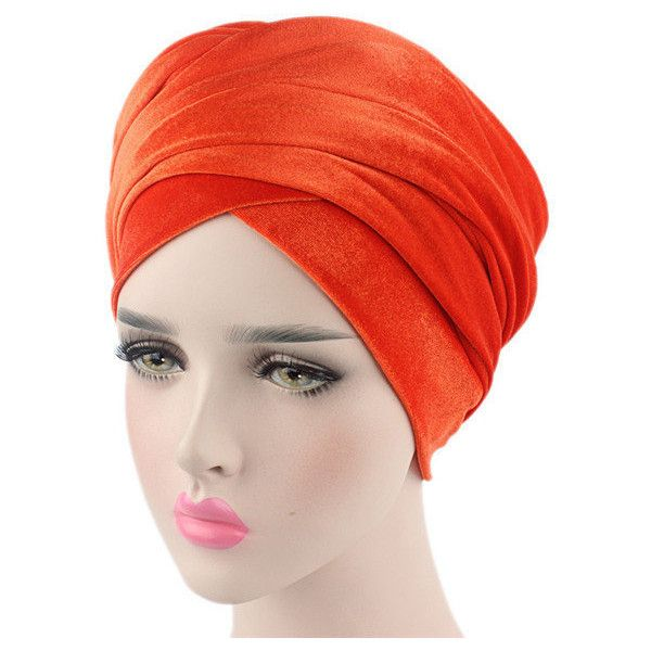 Mixed-use warm pure color turban hats windproof beanie hats ($13) ❤ liked on Polyvore featuring accessories, hats, orange, velvet hat, windproof hat, velvet turban, orange beanie hat and orange hat