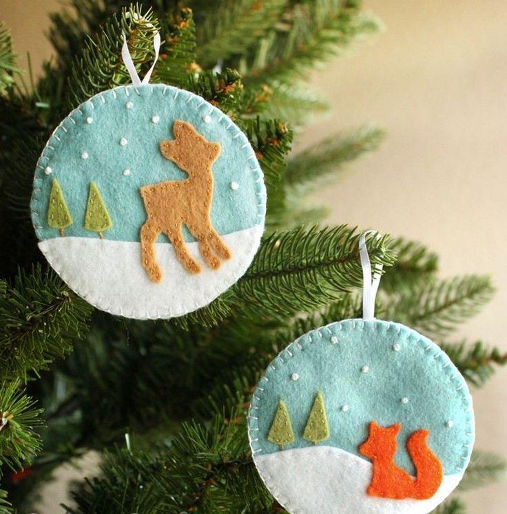 couture Noël originale en feutre - deux ornements de sapin de Noël à suspendre décorés d'un cerf/renard, neige et sapins