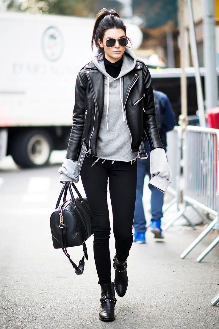 48 Pieces Kendall Jenner Would Totally Wear // hoodie, moto jacket & boots…