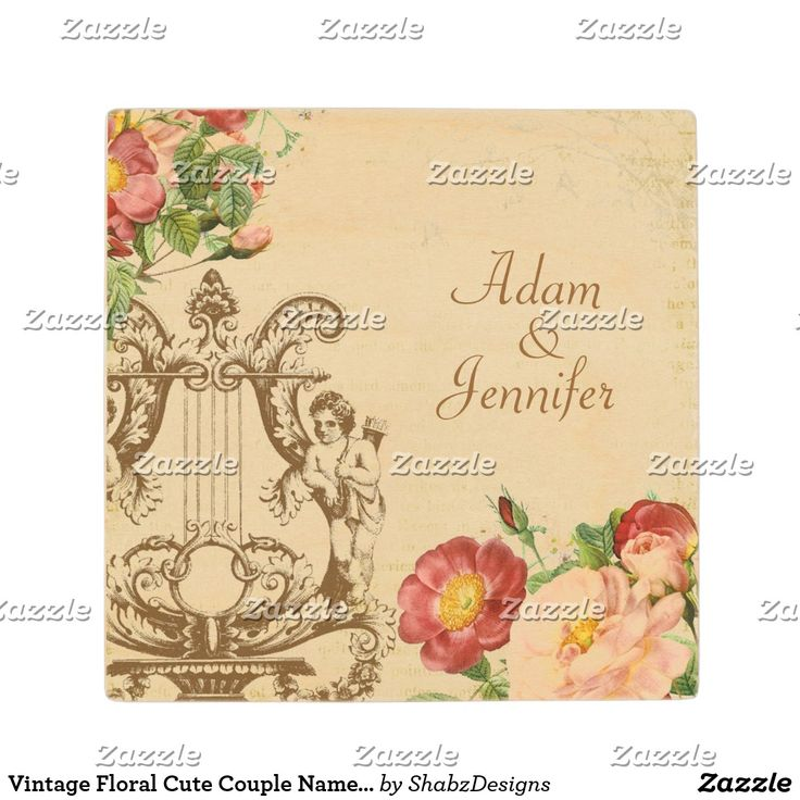 Vintage Floral Cute Couple Names Customized Wooden Coaster