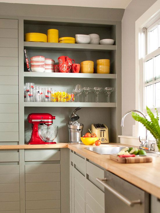 Freed Storage Space Give your kitchen a new look and boost its storage capacity at the same time. These open shelves keep dishes neatly organized and the bottom shelf is the perfect spot for small appliances. To boost efficiency, have electric outlets installed within the shelving space so you don't have to move the appliances to use them