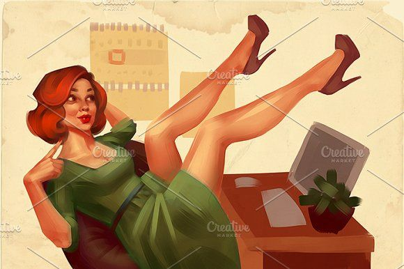 Office pin-up by Irene on @creativemarket
