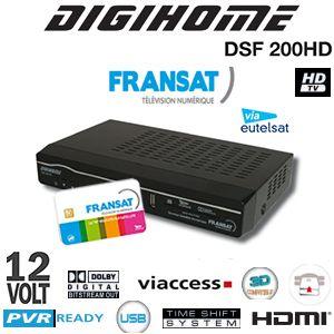 Digihome DSF-200 HD est un terminal numérique satellite à haute définition vous permet de recevoir les chaînes gratuites de la TNT avec une multitude d'autres programmes
