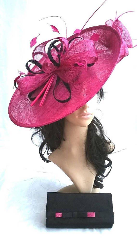 Fuschia pink   Navy Hatinator..Stunning Sinamay Fascinator Hat on a Headband ..Hatinator 78dbb3a70b9