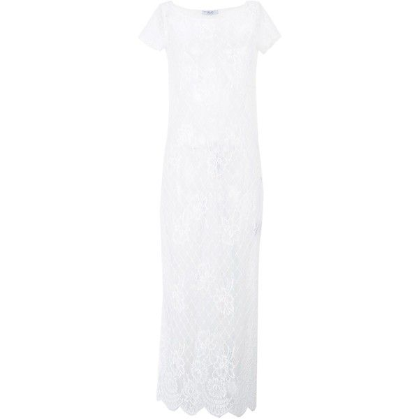 Liu •jo Jeans Long Dress ($144) ❤ liked on Polyvore featuring dresses, white, short sleeve dress, long dresses, lacy dress, liu jo dresses and short sleeve lace dress