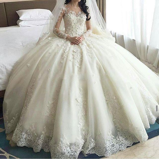 2016 vestidos románticos del Vestido De bola De China vestidos manga larga De encaje apliques vestidos De novia Vestido De Noiva trouwjurk