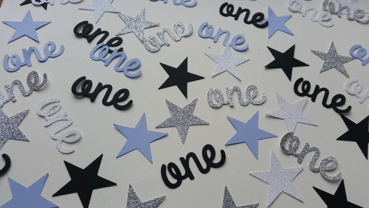 Age one and stars confetti. Plain blue and black and glitter silver and white age table confetti. 1st birthday confetti by Garlandsandgifts on Etsy