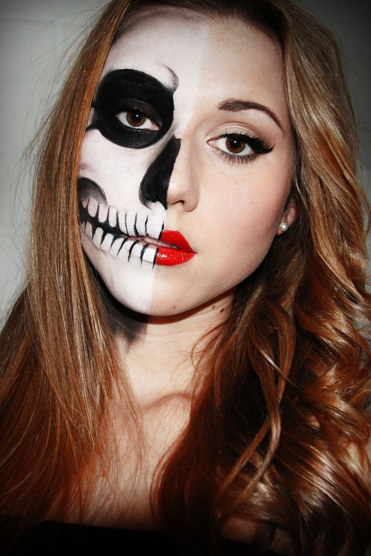 a few sparks: half skull face Perfect for trick or treating with the kids!
