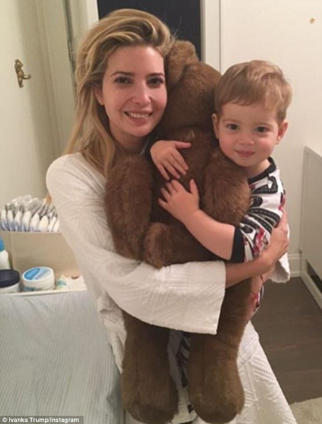 Family: On Sunday, Ivanka shared this photo of herself with her youngest child, son Theodo...