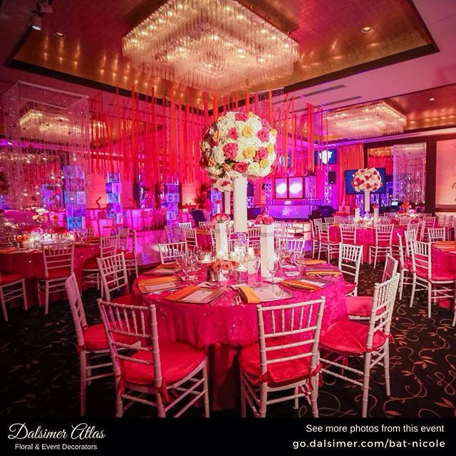 This Bat Mitzvah has a fabulous hot pink color scheme.   See this event here: go.dalsimer.com/bat-nicole   Photographer: @emilyharrisphotography   #DalsimerAtlas #Mitzvahs #MitzvahParty #MitzvahIdeas #MitzvahTheme #BarMitzvah #BarMitzvahs #BarMitzvahParty #BatMitzvah #BatMitzvahs #BatMitzvahParty