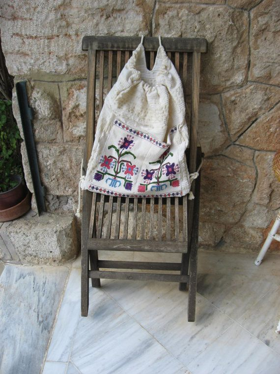 Fabric bag\Greek hand woven\cotton and wool textile\ light backpack design\ Old Handmade cross stitch embroidery\Traditional plant design\ A