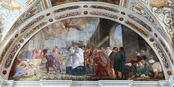 Vaulting of the former Chapel of the Seminary in Łowicz was adorned with frescoes with the scenes from the life and work of Saint Charles Borromeo by Michelangelo Palloni for Michał Stefan Radziejowski in about 1700