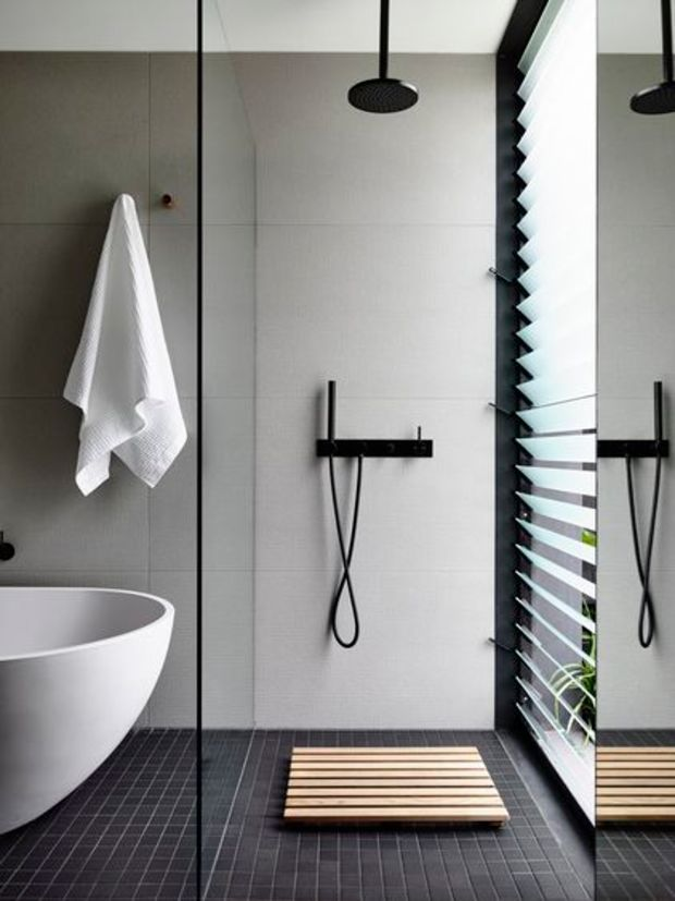 Chic, simple and perfectly minimalistic. Love this shower room with bath. #interior                                                                                                                                                      More